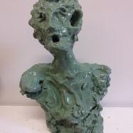 """""""Cugino"""" (Cousin), ceramica smaltata (glazed ceramic), 2019, cm 39x25x16"""