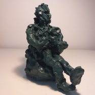 """Artista"" (Artist), terracotta dipinta ad acrilico (acrylic painted terracotta), 2018, cm 26x17x25"