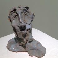 """Scrittore"" (Writer), ceramica smaltata (glazed ceramic), 2018,cm 11x11x4,5"