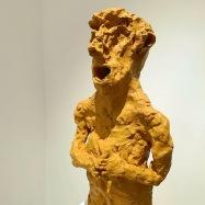 """Custode"" (Custodian), terracotta dipinta ad acrilico (acrylic painted terracotta), 2018, cm 55x23x16,5"