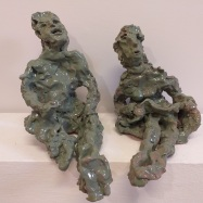 """Auf der Straße"", ceramica smaltata (glazed ceramic), 2018, cm 23x14x29, 20x16x26"