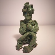 """""""Uomo che legge"""" (Man Reading) da/from Medardo Rosso, ceramica smaltata (glazed ceramic), 2019, cm 16x9,5x12"""