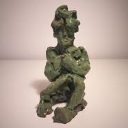 """Uomo che legge, omaggio a Medardo Rosso"" (Man Reading, Homage to Medardo Rosso), ceramica smaltata (glazed ceramic), 2019, cm 16x9,5x12"